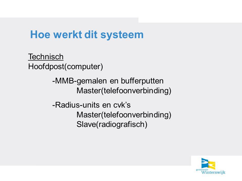 Hoe werkt dit systeem Technisch Hoofdpost(computer) -MMB-gemalen en bufferputten Master(telefoonverbinding) -Radius-units en cvk's Master(telefoonverb