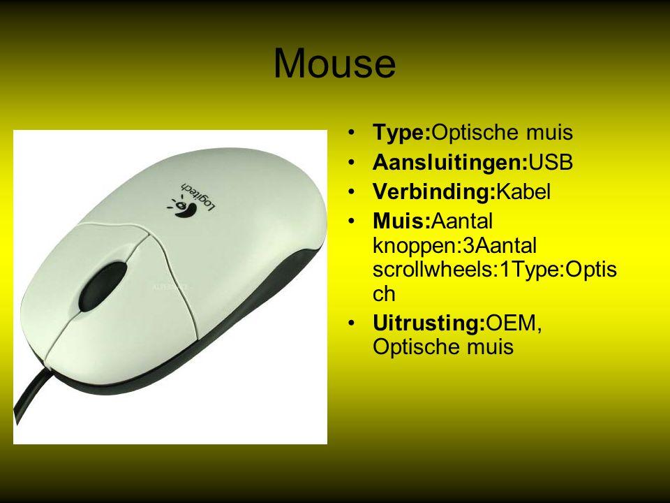 Mouse Type:Optische muis Aansluitingen:USB Verbinding:Kabel Muis:Aantal knoppen:3Aantal scrollwheels:1Type:Optis ch Uitrusting:OEM, Optische muis