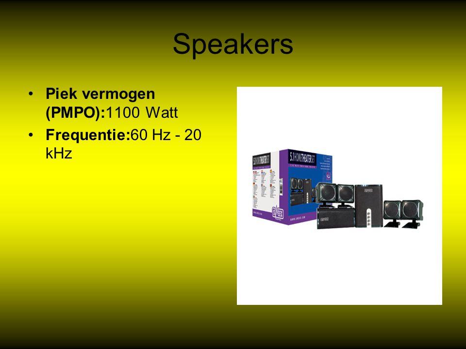Speakers Piek vermogen (PMPO):1100 Watt Frequentie:60 Hz - 20 kHz