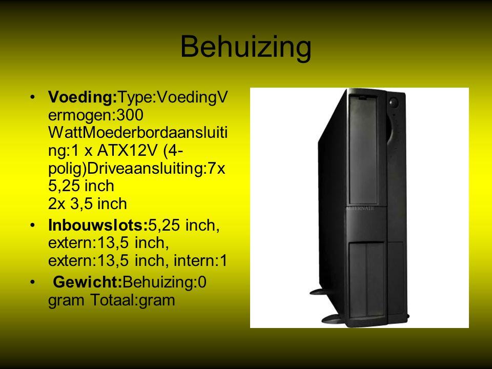 Behuizing Voeding:Type:VoedingV ermogen:300 WattMoederbordaansluiti ng:1 x ATX12V (4- polig)Driveaansluiting:7x 5,25 inch 2x 3,5 inch Inbouwslots:5,25