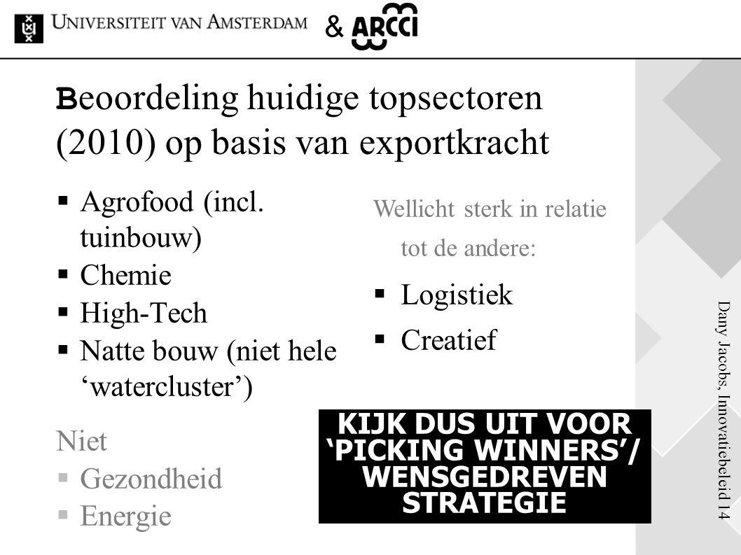 Dany Jacobs, Innovatiebeleid 14 & B eoordeling huidige topsectoren (2010) op basis van exportkracht  Agrofood (incl. tuinbouw)  Chemie  High-Tech 