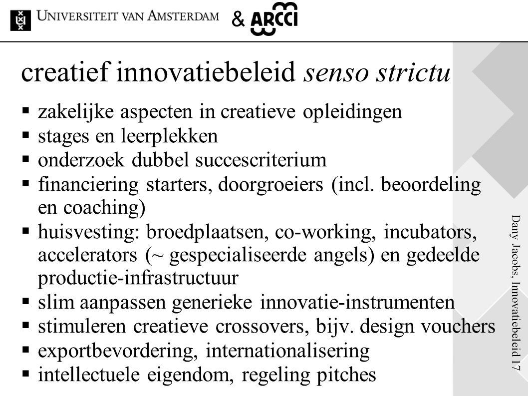 Dany Jacobs, Innovatiebeleid 17 & creatief innovatiebeleid senso strictu  zakelijke aspecten in creatieve opleidingen  stages en leerplekken  onder