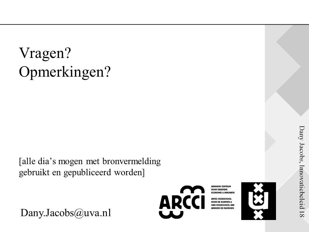 Dany Jacobs, Innovatiebeleid 18 & Vragen? Opmerkingen? [alle dia's mogen met bronvermelding gebruikt en gepubliceerd worden] Dany.Jacobs@uva.nl