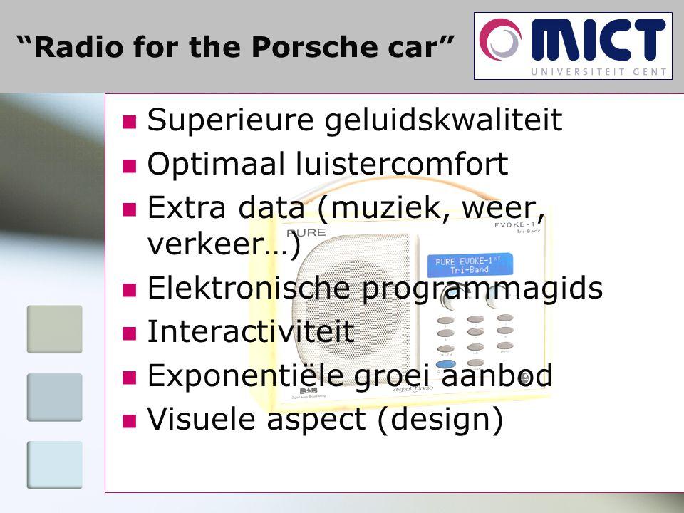 Radio for the Porsche car Superieure geluidskwaliteit Optimaal luistercomfort Extra data (muziek, weer, verkeer…) Elektronische programmagids Interactiviteit Exponentiële groei aanbod Visuele aspect (design)