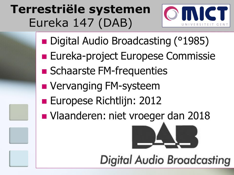 Terrestriële systemen Eureka 147 (DAB) Digital Audio Broadcasting (°1985) Eureka-project Europese Commissie Schaarste FM-frequenties Vervanging FM-sys
