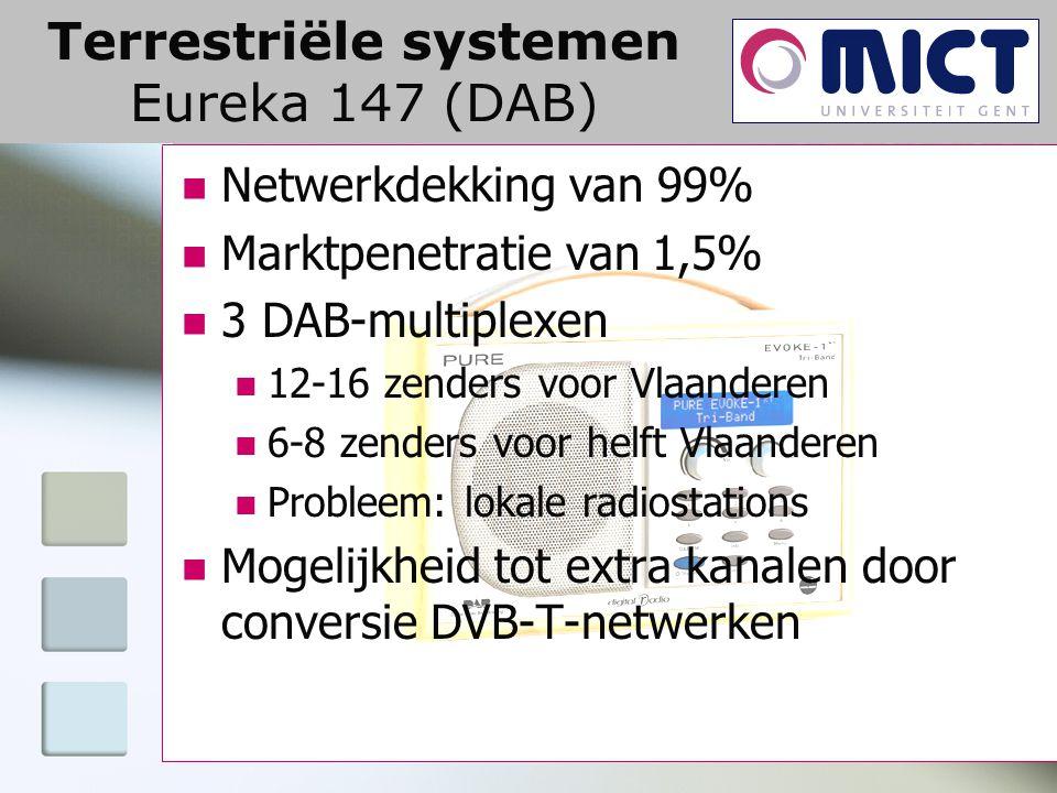 Terrestriële systemen Eureka 147 (DAB) Netwerkdekking van 99% Marktpenetratie van 1,5% 3 DAB-multiplexen 12-16 zenders voor Vlaanderen 6-8 zenders voor helft Vlaanderen Probleem: lokale radiostations Mogelijkheid tot extra kanalen door conversie DVB-T-netwerken