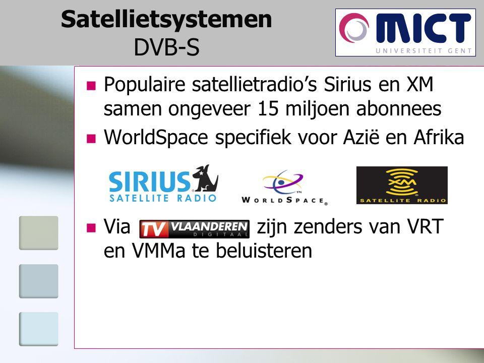 Satellietsystemen DVB-S Populaire satellietradio's Sirius en XM samen ongeveer 15 miljoen abonnees WorldSpace specifiek voor Azië en Afrika Via zijn zenders van VRT en VMMa te beluisteren