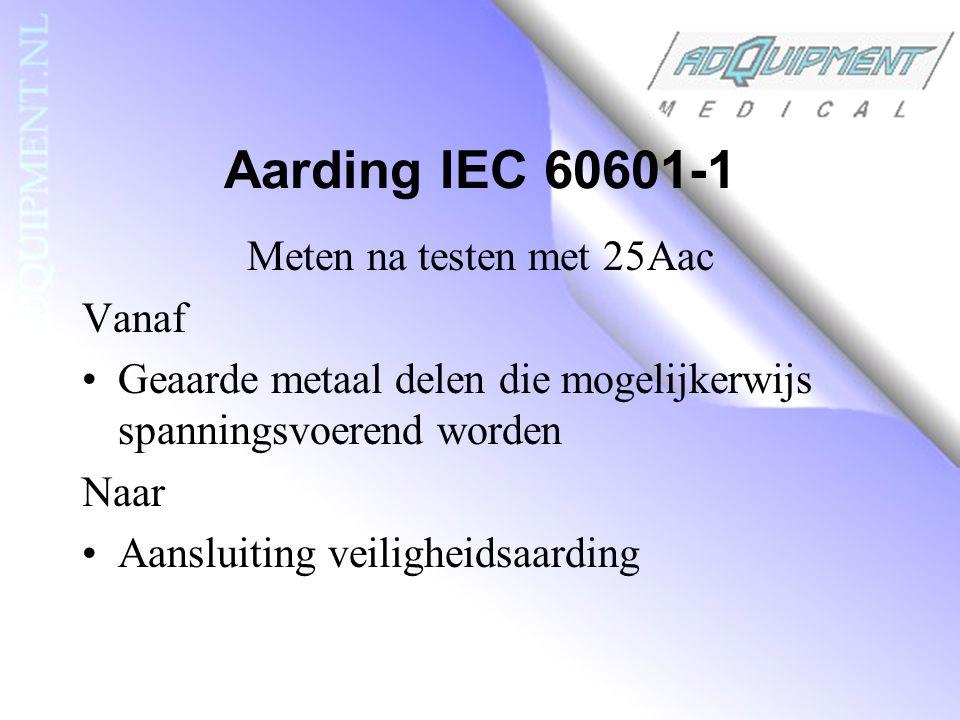 Aarding IEC 60601-1 Meten na testen met 25Aac Vanaf Geaarde metaal delen die mogelijkerwijs spanningsvoerend worden Naar Aansluiting veiligheidsaarding