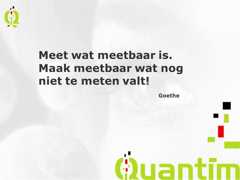 Meet wat meetbaar is. Maak meetbaar wat nog niet te meten valt! Goethe