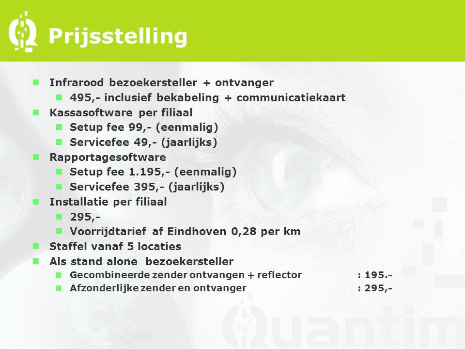Prijsstelling nInfrarood bezoekersteller + ontvanger n495,- inclusief bekabeling + communicatiekaart nKassasoftware per filiaal nSetup fee 99,- (eenmalig) nServicefee 49,- (jaarlijks) nRapportagesoftware nSetup fee 1.195,- (eenmalig) nServicefee 395,- (jaarlijks) nInstallatie per filiaal n295,- nVoorrijdtarief af Eindhoven 0,28 per km nStaffel vanaf 5 locaties nAls stand alone bezoekersteller nGecombineerde zender ontvangen + reflector: 195.- nAfzonderlijke zender en ontvanger: 295,-