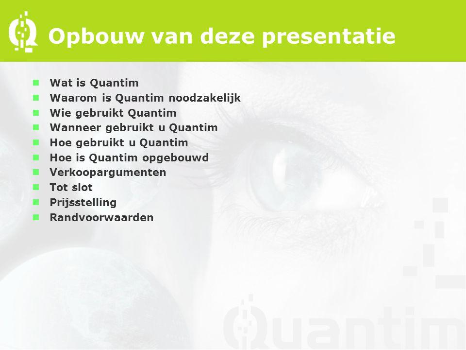 Opbouw van deze presentatie nWat is Quantim nWaarom is Quantim noodzakelijk nWie gebruikt Quantim nWanneer gebruikt u Quantim nHoe gebruikt u Quantim nHoe is Quantim opgebouwd nVerkoopargumenten nTot slot nPrijsstelling nRandvoorwaarden
