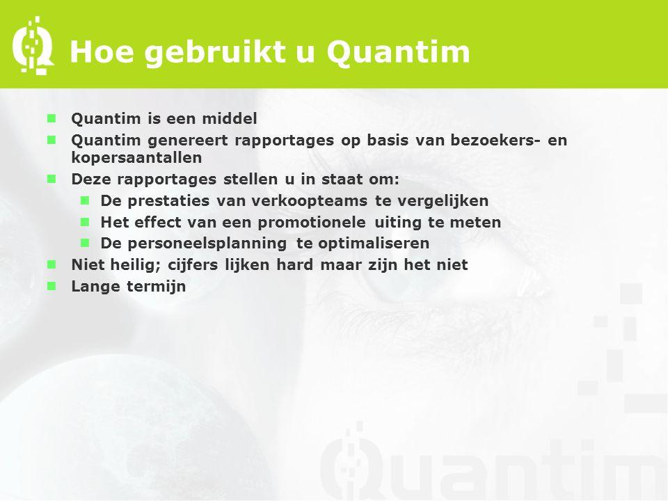 Hoe gebruikt u Quantim nQuantim is een middel nQuantim genereert rapportages op basis van bezoekers- en kopersaantallen nDeze rapportages stellen u in staat om: nDe prestaties van verkoopteams te vergelijken nHet effect van een promotionele uiting te meten nDe personeelsplanning te optimaliseren nNiet heilig; cijfers lijken hard maar zijn het niet nLange termijn