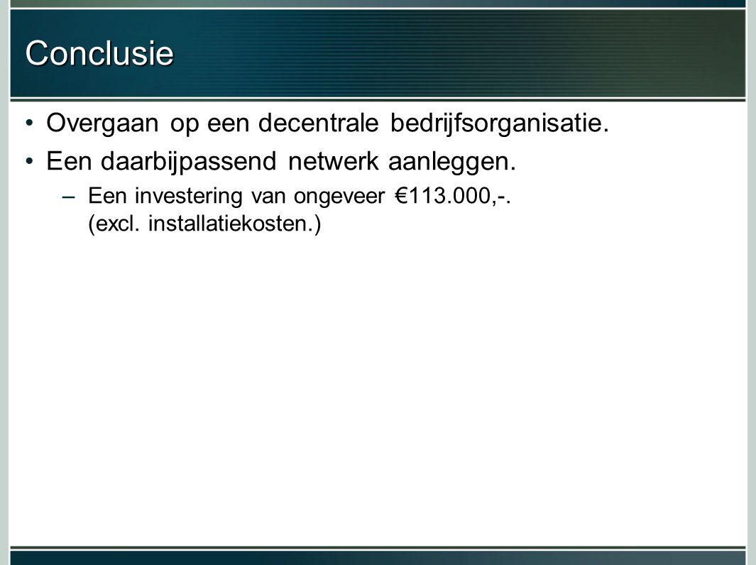 Conclusie Overgaan op een decentrale bedrijfsorganisatie.