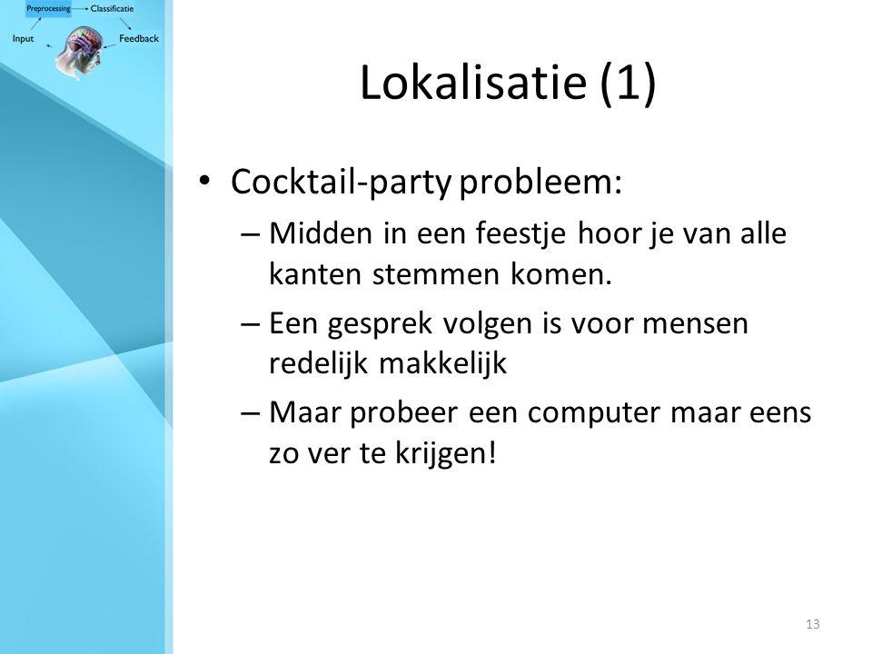 13 Lokalisatie (1) Cocktail-party probleem: – Midden in een feestje hoor je van alle kanten stemmen komen.