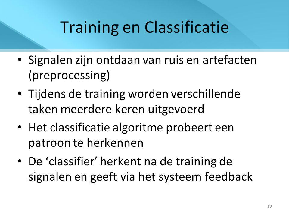 19 Training en Classificatie Signalen zijn ontdaan van ruis en artefacten (preprocessing) Tijdens de training worden verschillende taken meerdere keren uitgevoerd Het classificatie algoritme probeert een patroon te herkennen De 'classifier' herkent na de training de signalen en geeft via het systeem feedback