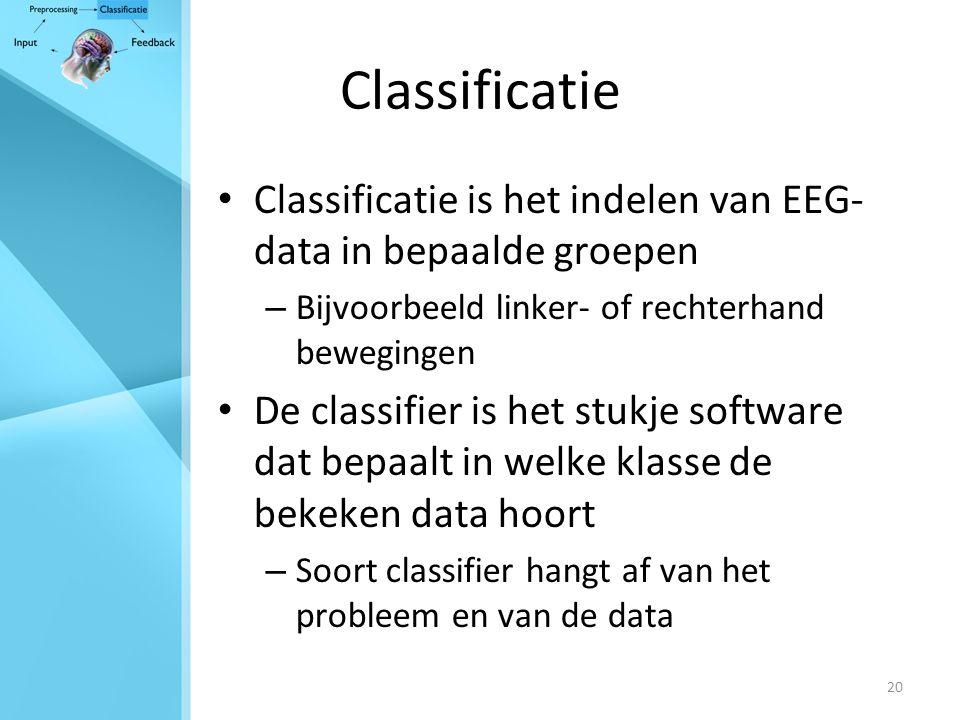 20 Classificatie Classificatie is het indelen van EEG- data in bepaalde groepen – Bijvoorbeeld linker- of rechterhand bewegingen De classifier is het stukje software dat bepaalt in welke klasse de bekeken data hoort – Soort classifier hangt af van het probleem en van de data