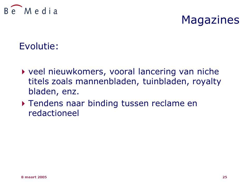8 maart 200525 Evolutie:  veel nieuwkomers, vooral lancering van niche titels zoals mannenbladen, tuinbladen, royalty bladen, enz.