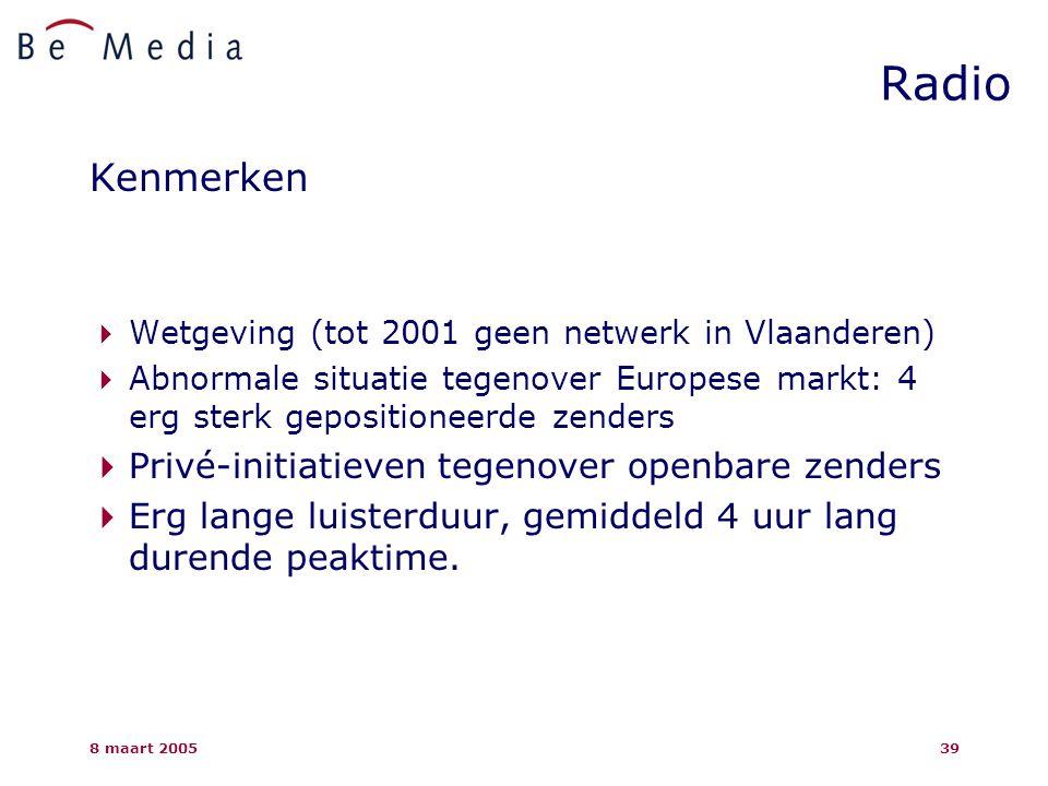 8 maart 200539 Radio Kenmerken  Wetgeving (tot 2001 geen netwerk in Vlaanderen)  Abnormale situatie tegenover Europese markt: 4 erg sterk gepositioneerde zenders  Privé-initiatieven tegenover openbare zenders  Erg lange luisterduur, gemiddeld 4 uur lang durende peaktime.