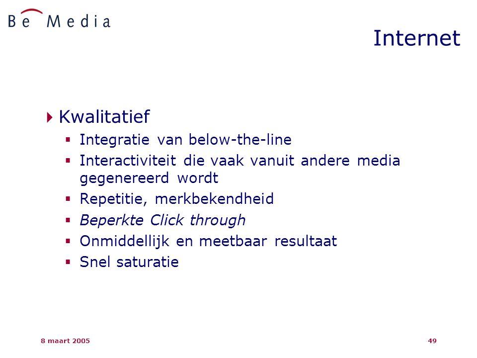 8 maart 200549  Kwalitatief  Integratie van below-the-line  Interactiviteit die vaak vanuit andere media gegenereerd wordt  Repetitie, merkbekendheid  Beperkte Click through  Onmiddellijk en meetbaar resultaat  Snel saturatie Internet
