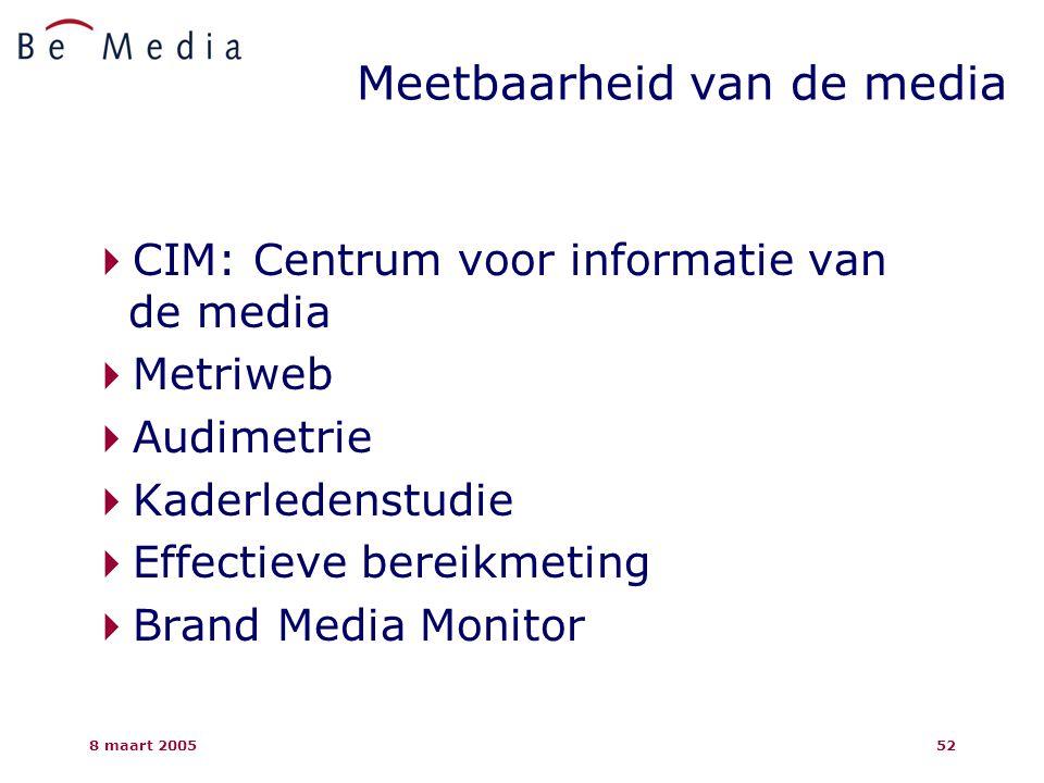 8 maart 200552 Meetbaarheid van de media  CIM: Centrum voor informatie van de media  Metriweb  Audimetrie  Kaderledenstudie  Effectieve bereikmeting  Brand Media Monitor