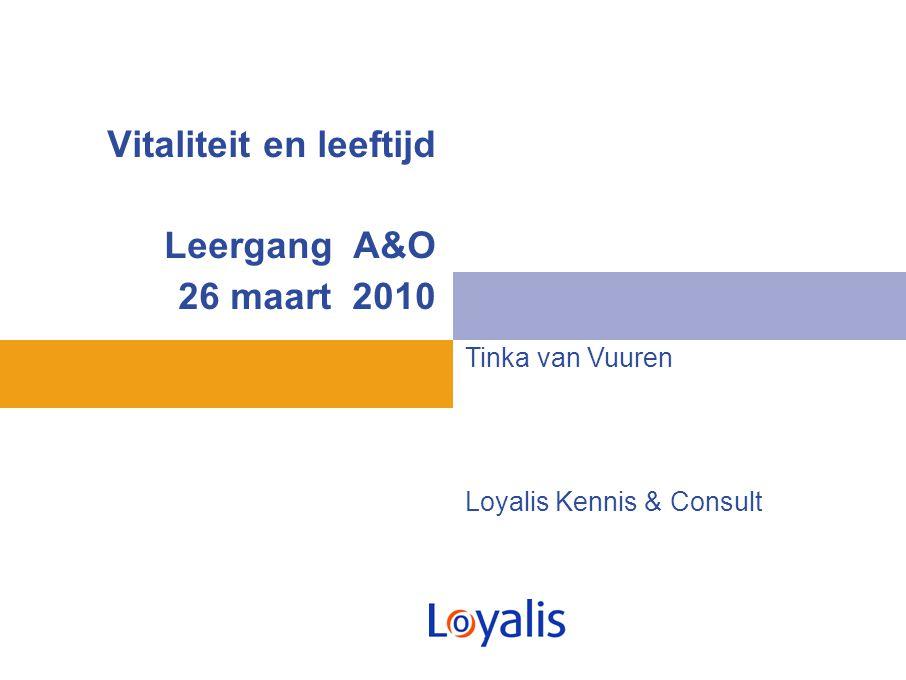 Vitaliteit en leeftijd Leergang A&O 26 maart 2010 Tinka van Vuuren Loyalis Kennis & Consult