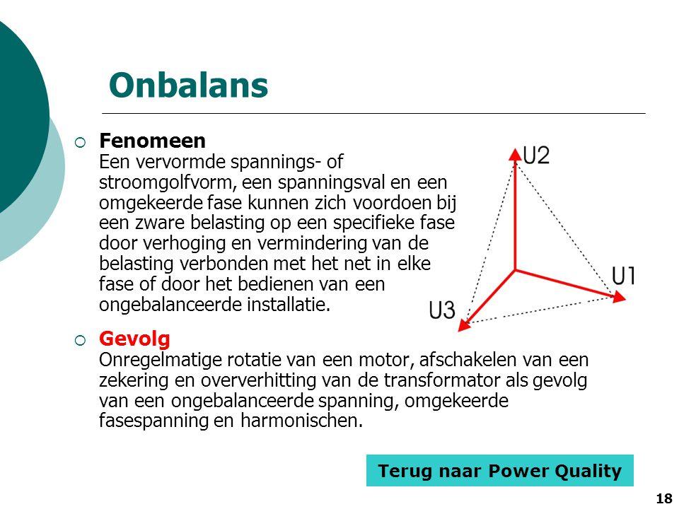 18 Onbalans  Fenomeen Een vervormde spannings- of stroomgolfvorm, een spanningsval en een omgekeerde fase kunnen zich voordoen bij een zware belastin