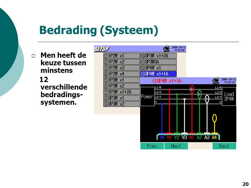 20 Bedrading (Systeem)  Men heeft de keuze tussen minstens 12 verschillende bedradings- systemen.