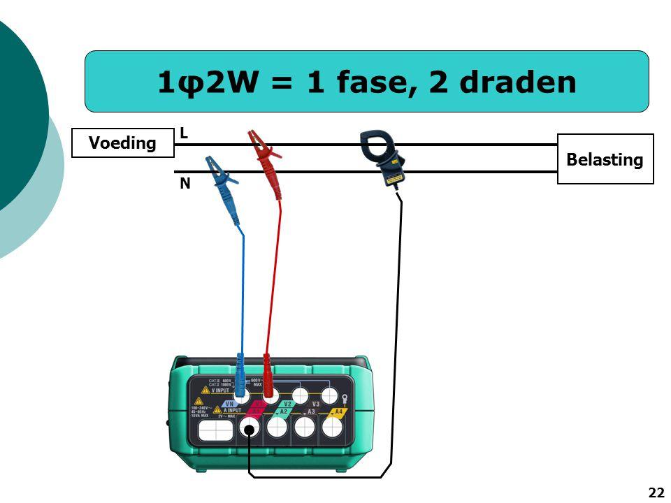 22 1φ2W = 1 fase, 2 draden Voeding N L Belasting