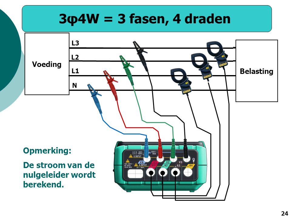 24 3φ4W = 3 fasen, 4 draden Voeding Belasting N L1 L2 L3 Opmerking: De stroom van de nulgeleider wordt berekend.