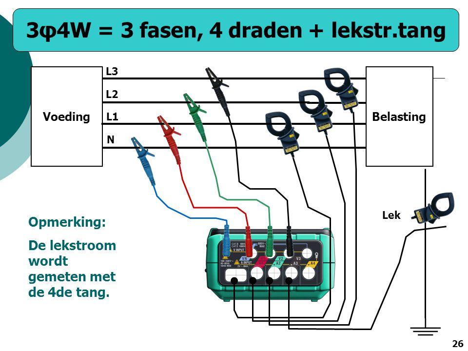 26 VoedingBelasting N L1 L2 L3 Lek Opmerking: De lekstroom wordt gemeten met de 4de tang. 3φ4W = 3 fasen, 4 draden + lekstr.tang