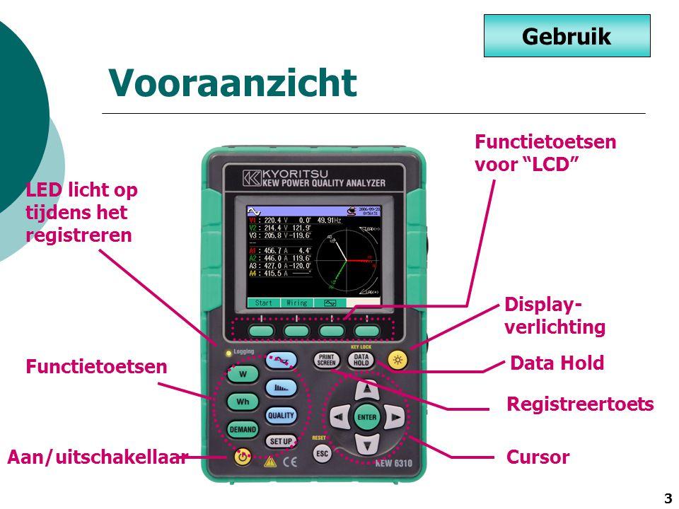 """3 Vooraanzicht LED licht op tijdens het registreren Display- verlichting Registreertoets Aan/uitschakellaar Functietoetsen voor """"LCD"""" Gebruik Functiet"""