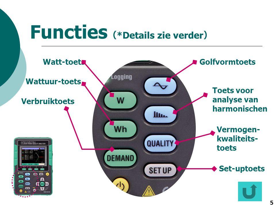 5 Functies ( *Details zie verder ) GolfvormtoetsWatt-toets Wattuur-toets Verbruiktoets Toets voor analyse van harmonischen Vermogen- kwaliteits- toets