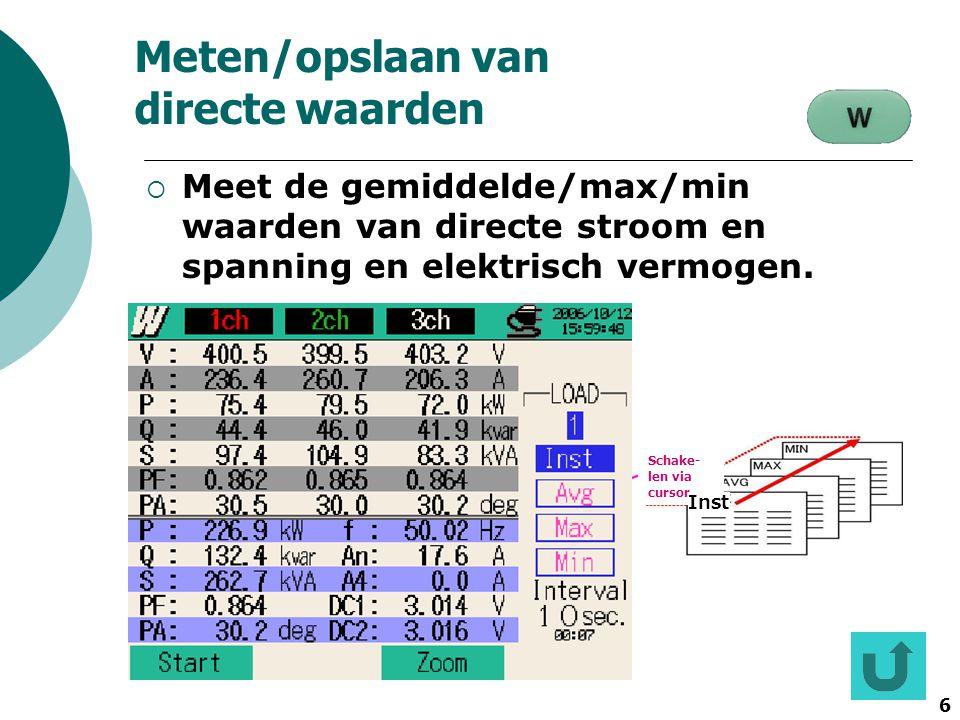 6 Schake- len via cursor St art Enla rge 設定 確認 Inst Meten/opslaan van directe waarden  Meet de gemiddelde/max/min waarden van directe stroom en spann