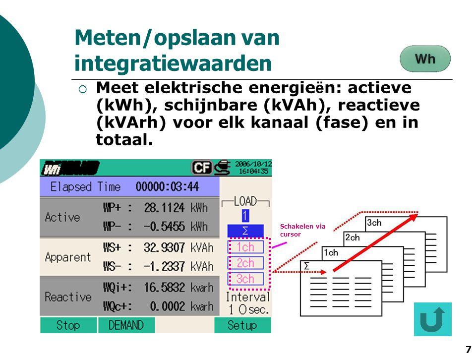 7 StartW Demand 設定確認 Schakelen via cursor Meten/opslaan van integratiewaarden  Meet elektrische energie ë n: actieve (kWh), schijnbare (kVAh), reacti