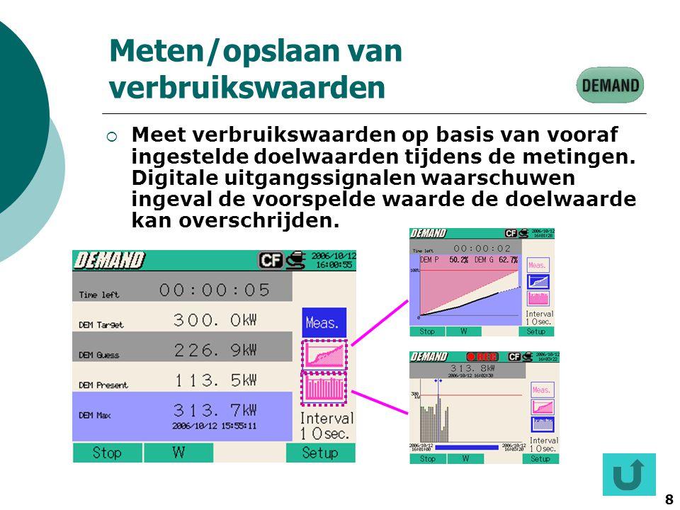8 Meten/opslaan van verbruikswaarden  Meet verbruikswaarden op basis van vooraf ingestelde doelwaarden tijdens de metingen. Digitale uitgangssignalen