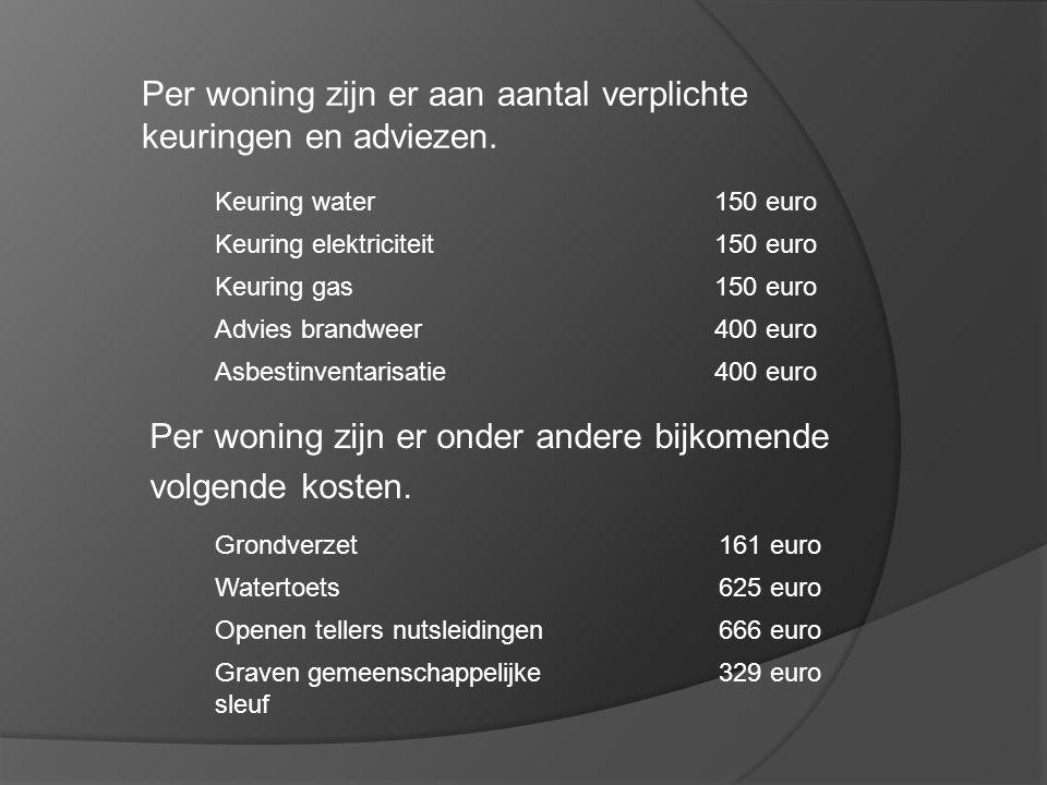 Per woning zijn er aan aantal verplichte keuringen en adviezen. Keuring water150 euro Keuring elektriciteit150 euro Keuring gas150 euro Advies brandwe