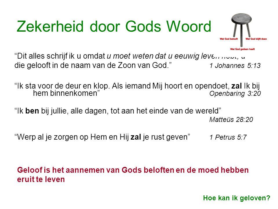 """Zekerheid door Gods Woord """"Dit alles schrijf ik u omdat u moet weten dat u eeuwig leven hebt, u die gelooft in de naam van de Zoon van God."""" 1 Johanne"""