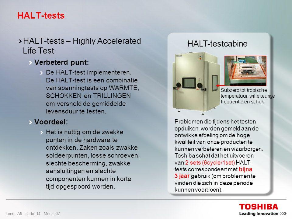 Tecra A9 slide: 13 Mei 2007 HALT is een combinatie van spanningtests van extreme variaties in temperatuur schokbestendigheid herhaalde trillingen om intensief notebookgebruik te simuleren HALT maakt het mogelijk tijdens de ontwikkeling van een notebook mogelijke kwaliteitsproblemen te identificeren en te isoleren.