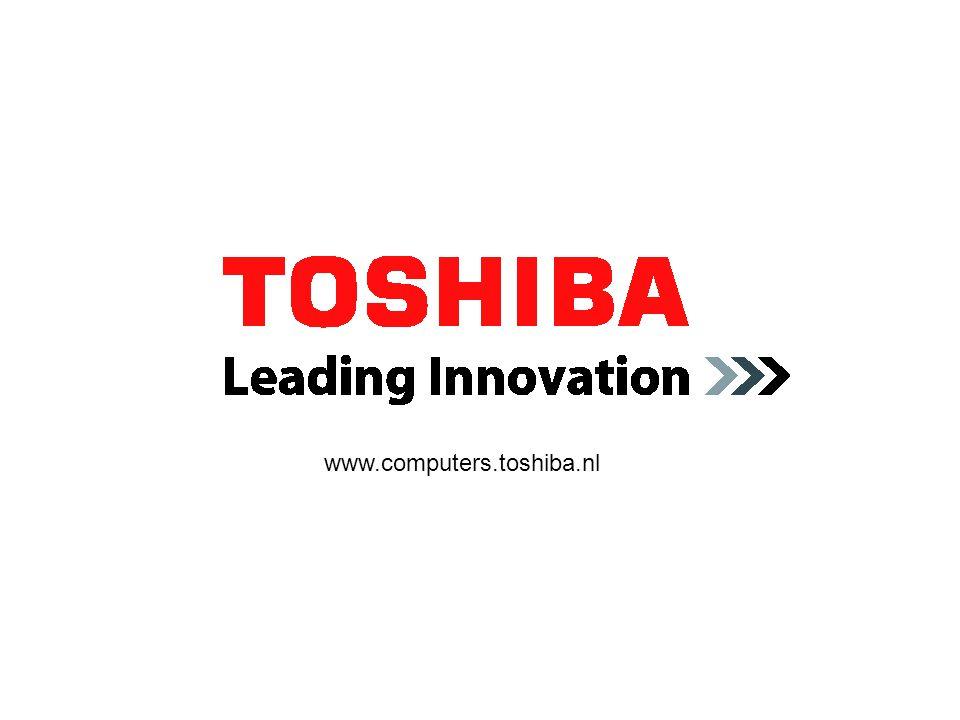 Tecra A9 slide: 30 Mei 2007 Standaardspecificaties Toshiba EasyGuard – Premium: Beveiliging: Execute Disable Bit (XD-Bit), draadloos aanmelden via mobiele Bluetooth ® -telefoon, Advanced Encryption, Fingerprint Reader met Single Sign-On, BIOS met Computrace ® -ondersteuning, Password Utilities, Antivirussoftware, Toshiba Security Assist, Toshiba Device Access Control (op verzoek) Protect & Fix: Spill-resistant Keyboard, HDD Protection (3-assig), Toshiba Anti-theft Protection Timer, Shock Protection Design, Durable Design, PC Diagnostics, Kensington Lock, Data Backup, Easy Fix-componenten Verbinden:Verbinden: Diversity Antenna, gereed voor Voice over IP, Toshiba ConfigFree™, Bluetooth ® 2.0 met EDR, Wireless LAN (802.11a/b/g/Draft-N), schakelaar voor draadloze verbindingen Beheren: Intel ® Turbo Memory, Port Replicator (optioneel), Dynadock USB Port Replicator (optioneel), Virtualisation Technology, Toshiba Power Saver-software, Toshiba Management Console, TEMPO Processor/technologie: Intel ® Centrino ® Duo-processortechnologie met Intel ® Core™2 Duo processor T7300 (2 MB cache, 1,80 GHz, 800 MHz FSB), Intel ® 965GM Express chipset en Intel ® Next-Gen Wireless-N (Intel ® Wireless WiFi™ Link 4965AGN) Besturingssysteem: Legitieme Microsoft ® Windows Vista™ Business Edition Beeldscherm: 15,4 WXGA TFT, resolutie: 1280 x 800 Vaste schijf: 160 GB (5400 rpm), Serial ATA Systeemgeheugen: 1024 MB, maximaal uitbreidbaar tot: 4 GB, technologie: DDR2 RAM (667 MHz) Optische drive: Slim SelectBay dvd-supermultidrive (Double Layer) Grafische kaart: Mobile Intel ® Graphics Media Accelerator X3100 met maximaal 358 MB grafisch geheugen bij 2 GB systeemgeheugen Bedrade verbindingen: Gigabit ethernet-LAN, internationaal V.90 modem (voorbereid voor V.92) Draadloze verbindingen: Wireless LAN (802.11b/g/Draft-N), Bluetooth ® 2.0 met EDR (Enhanced Data Rate) Accu: Technologie: lithium-ion Afmetingen: B x L x H: 366 x 268 x 30,0 (voorzijde) / 38,9 (achterzijde) mm, gewicht: vanaf 2,88 kg Gar