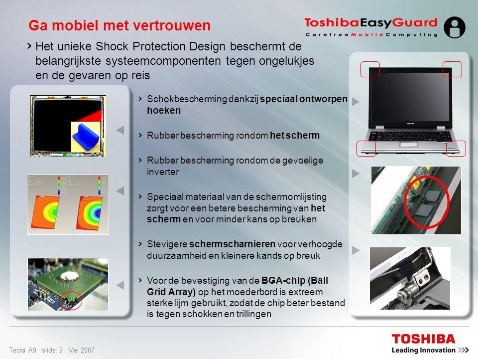 Tecra A9 slide: 29 Mei 2007 Opties & service Reparatie op locatie Express Port Replicator Advanced Business Case PX1398E-3G20200 GB ext.