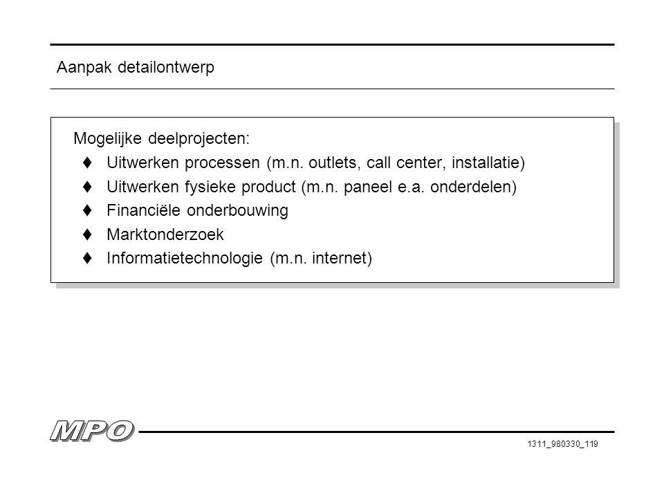 1311_980330_119 Aanpak detailontwerp Mogelijke deelprojecten: t Uitwerken processen (m.n. outlets, call center, installatie) t Uitwerken fysieke produ