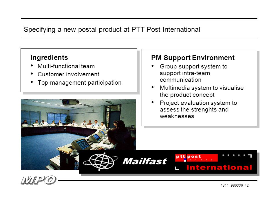 1311_980330_42 Specifying a new postal product at PTT Post International Ingredients Multi-functional team Customer involvement Top management participation Ingredients Multi-functional team Customer involvement Top management participation PM Support Environment Group support system to support intra-team communication Multimedia system to visualise the product concept Project evaluation system to assess the strenghts and weaknesses