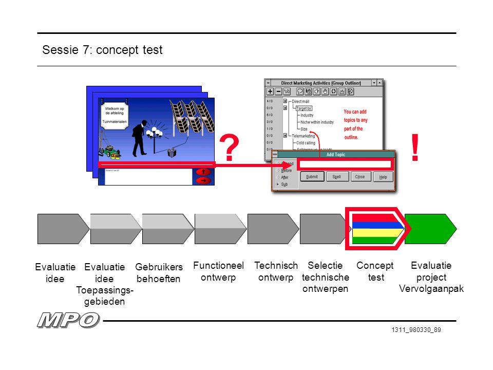 1311_980330_89 Sessie 7: concept test Evaluatie idee Evaluatie idee Toepassings- gebieden Gebruikers behoeften Functioneel ontwerp Technisch ontwerp S