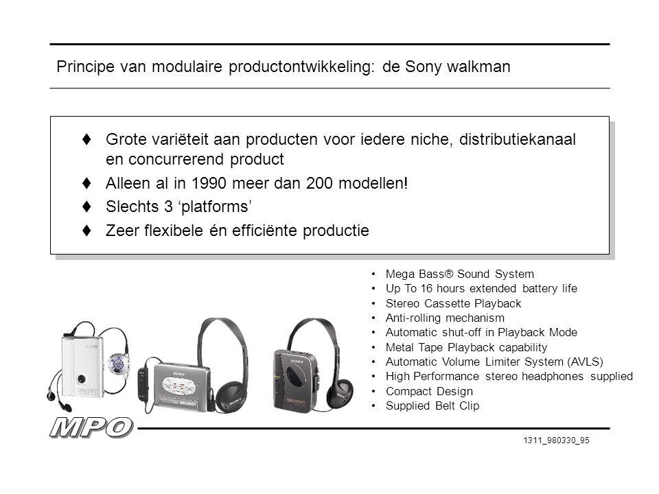 1311_980330_95 Principe van modulaire productontwikkeling: de Sony walkman t Grote variëteit aan producten voor iedere niche, distributiekanaal en con