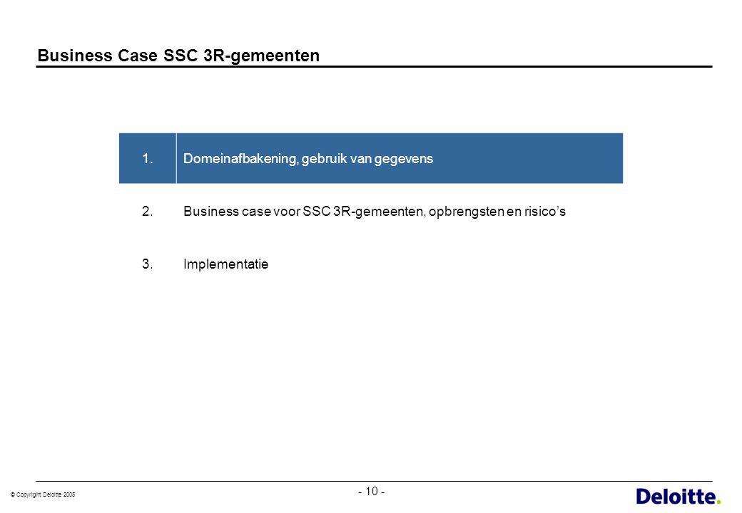 © Copyright Deloitte 2005 - 10 - Business Case SSC 3R-gemeenten 1.Domeinafbakening, gebruik van gegevens 2.Business case voor SSC 3R-gemeenten, opbren