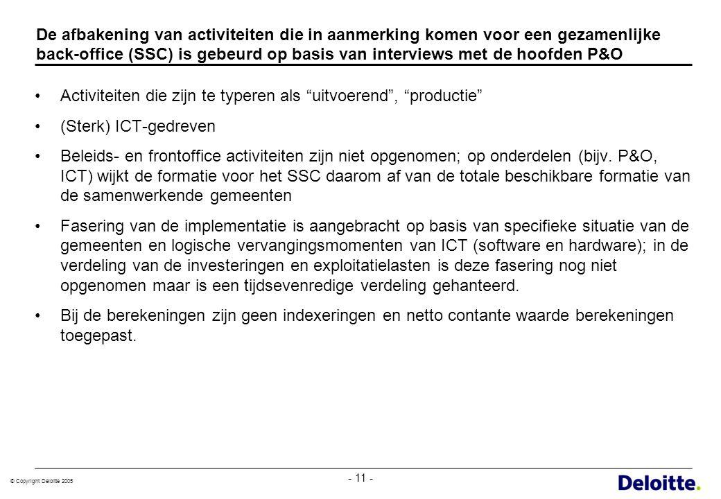 © Copyright Deloitte 2005 - 11 - De afbakening van activiteiten die in aanmerking komen voor een gezamenlijke back-office (SSC) is gebeurd op basis va