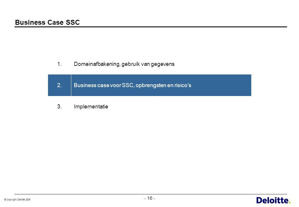 © Copyright Deloitte 2005 - 16 - Business Case SSC Implementatie3. Business case voor SSC, opbrengsten en risico's2. Domeinafbakening, gebruik van geg