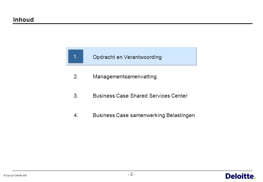 © Copyright Deloitte 2005 - 13 - Business case is gebaseerd op de kwantitatieve gegevens van de 3 gemeenten, met een totaal van 168,4 fte binnen de geselecteerde werkprocessen * Over deze activiteit bestaat (nog) geen overeenstemming of / op welke termijn ze in het SSC kunnen worden opgenomen ** Peildatum voor de aantallen werknemers is 31-12-2004.