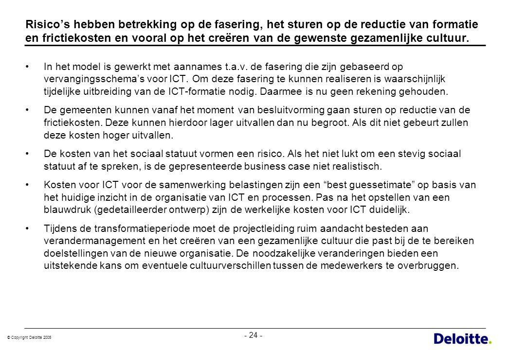 © Copyright Deloitte 2005 - 24 - Risico's hebben betrekking op de fasering, het sturen op de reductie van formatie en frictiekosten en vooral op het c