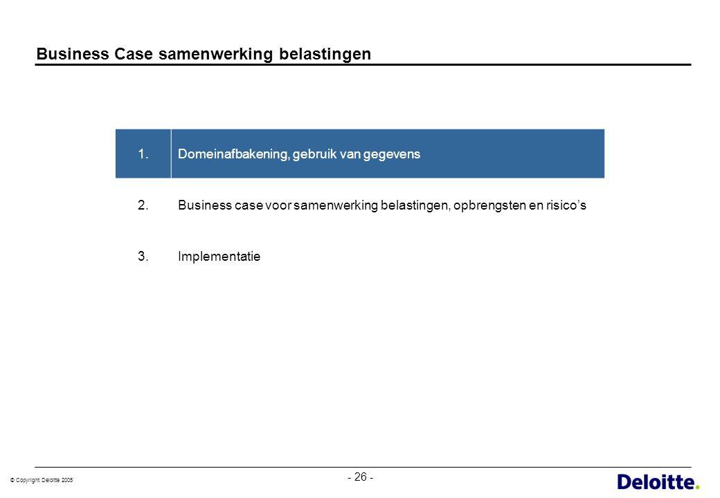 © Copyright Deloitte 2005 - 26 - Business Case samenwerking belastingen 1.Domeinafbakening, gebruik van gegevens 2.Business case voor samenwerking bel